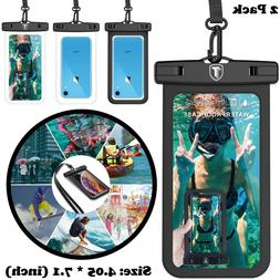 2 Pack Universal Large waterproof Cell Phone Pouch Strap Cas
