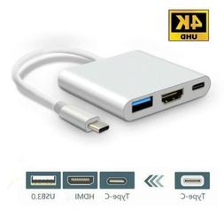 3 in 1 USB Type-C to HDMI+USB3.0+Type-C Female Adapter Cable