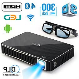 3D Home Theater Projector 2000 Lumens with Android 4.4,Keyst