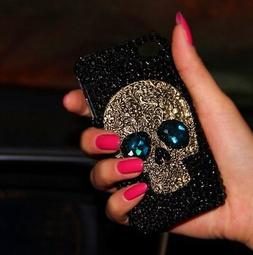 Fashion 3D Metal Skull Skeleton Handmade Bling rhinestone ca