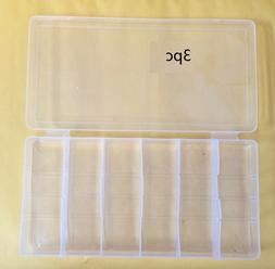3pc 6 Compartment Multi-function Plastic Storage Box Case Wa
