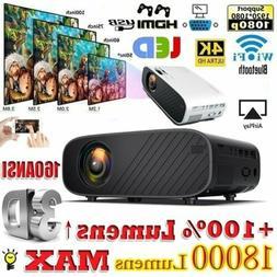4K 1080P HD WiFi 3D LED Mini Video Theatre Projector Home Ci