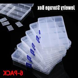6Pc 15Grids Clear Plastic Organizer Box Storage Jewelry Box