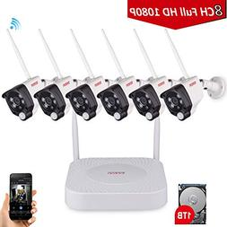 Tonton 8CH 1080P NVR Wireless Camera System with 1TB HDD, 6