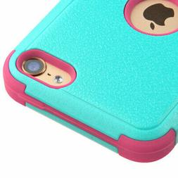 For iPod Touch 5th/6th Gen Rubberized Teal Green/Electric Pi