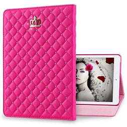 IDegg PU Leather Crown Design Bling Case with Auto Wake/Slee