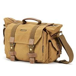 SLR Camera Bag Evecase Large Canvas Messenger SLR/DSLR Camer