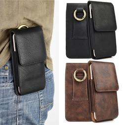 Vertical Leather Carrying Pouch Case Cover Holster With Belt