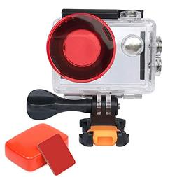 VVHOOY Action Camera Waterproof Housing Case with Red Filter