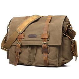 Kattee Leather Canvas Camera Bag Vintage DSLR SLR Messenger
