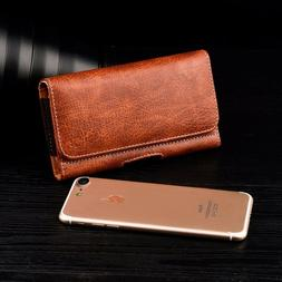 CELL PHONE HORIZONTAL WALLET LEATHER CASE WITH CARRYING POUC
