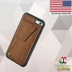 ZVE Credit Card Wallet Case Cover Brown for iPhone 6 Plus  i