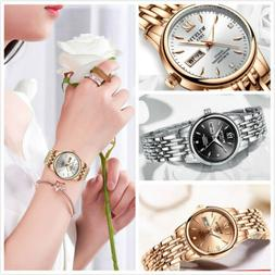 Waterproof Fashion Crystal Date Stainless Steel Quartz Lady