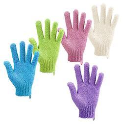 Madholly 5 Pairs Exfoliating Shower Bath Gloves- Body Scrubb