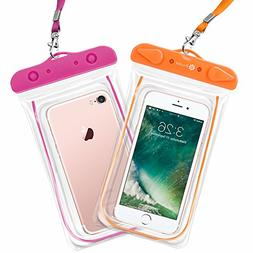 F-color Waterproof Case, 2 Pack Waterproof Phone Pouch Float