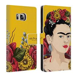 Official Frida Kahlo Portrait Red Florals Leather Book Walle