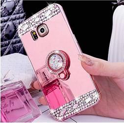 Galaxy S6 Case, PHEZEN Luxury Crystal Rhinestone Soft TPU Ru
