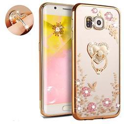 Galaxy S7 Floral Crystal TPU Case--Inspirationc Soft Slim Bl