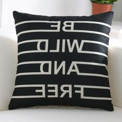 Home Decor Square Linen Printed Throw Pillow Case Sofa Car C
