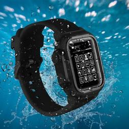 IP68 Waterproof Case Cover Silicone Band Strap For Apple Wat