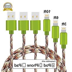 iPhone Cable, MCUK 3 Pack 3ft 6ft 10ft Lightning Cable Charg
