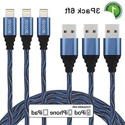 Xcords iPhone Charger, 3 pack 6ft Nylon Braided 8pin Lightni