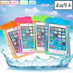 iPhone Waterproof Case,Waterproof Bag,4 Pack Noctilucent Cel