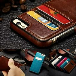 For iPhone X XR XS Max Samsung S8 S9 Note 8 Leather Card Hol