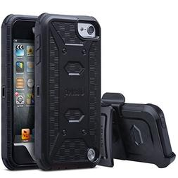 ULAK iPod Touch 6 Case,iPod Touch 5 Case, Dual Layer Hybrid