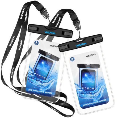 """2 PACK Waterproof Case IPX8 Waterproof 6"""" Pouch"""