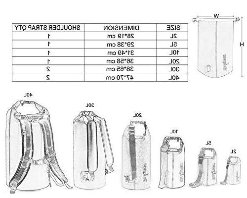 Unigear 2L/5L/10L/20L/30L/40L 600D Bag Sack, Waterproof Boating, Swimming Camping Waterproof Phone