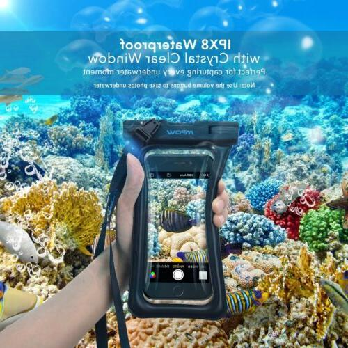 1 2 Pack MPOW Floating Waterproof Bag Underwater Pouch Dry Case For
