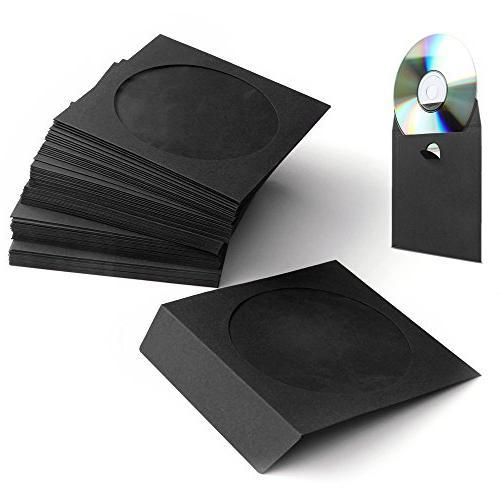 Flexzion 100 Pack CD DVD Thick Paper Sleeves  Standard Envel