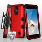 For LG Aristo / LV3 / MS210 PHONE RED BLACK TUFF HYBRID CASE