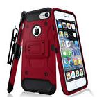For iPhone 7 - Tough Armor Case Belt Clip Holster - Red/Blac