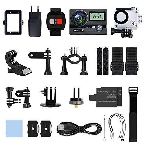 FITFORT 16 MP Wi-Fi Ultra HD Sport Camera 170 Degree 2 Inch LCD Screen 2Pcs Batteries Black