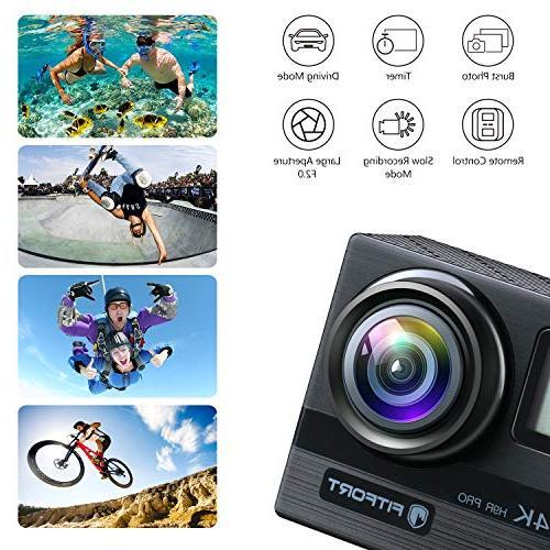 FITFORT 4K 16 HD Waterproof Sport 170 Degree 2 LCD Control 2Pcs Batteries 19 Black