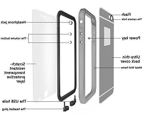 Aluminum iPhone Waterproof Case, HESGI Waterproof Dustproof Full iPhone 6 -Black