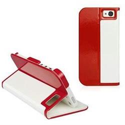 Macally Carrying Case  for iPhone - Red, White - Faux Leathe