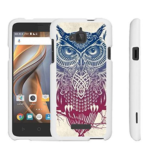 Coolpad 3622A Slim Case | Coolpad 3622A Cover Rubberized 2-Piece Matte  White Hard Snap On Shell Case - Tribal Owl Pink