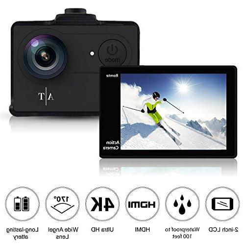 Auto Action Camera 4K Waterproof, Sports Full 4K 1080P Video 12MP and 170 Lens Includes 11 Kit Batteries
