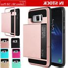 Hybrid Rugged Hard Card Wallet Phone Case Cover for Samsung