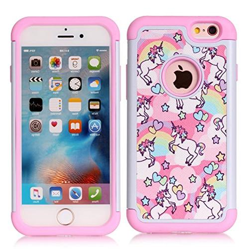 pretty nice d4726 710c1 Iphone 6S Case,Iphone 6 Case - Rainbow Unicorn Patchwork Pattern  Shock-Absorption Hard PC and Inner Silicone Hybrid Dual Layer Armor  Defender ...