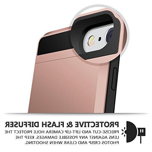 iPhone Case, Vofolen Impact Hybrid 6 Wallet Protective Shell Rugged Bumper Skin Holder iPhone 6 6S Rose Gold