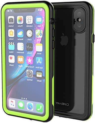uk availability 28d0b 584f3 CellEver iPhone Xs/iPhone X Case Waterproof Shockproof IP68 Certified  SandProof Snowproof Protective Full Body Clear Transparent Cover Compatible  with ...