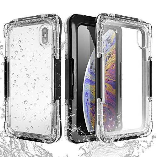 iPhone Xs Waterproof Case, Underwater Protective Cover Full Body Shockproof Dustproof for Xs Max(Black