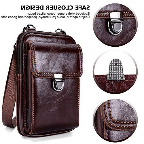 b9459fc16cae Leather Belt Bag, Men Genuine Leather Wallet Cellphone