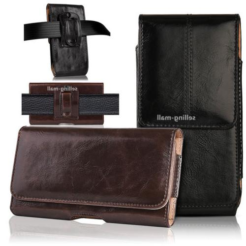 Leather Rugged Cell Phone Case Pouch Holster Clip Belt Loop