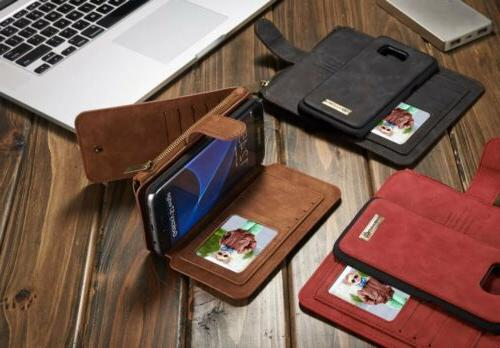 For Samsung Edge Leather Removable Wallet Flip Cover