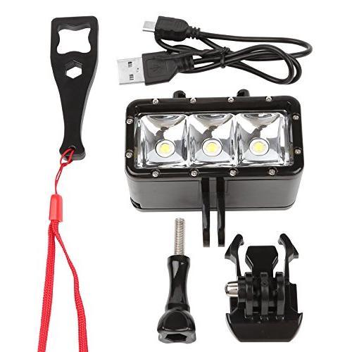D&F Flash Diving Light 40M 3 LED Built-in for SJCAM,SJ4000 Other Camera